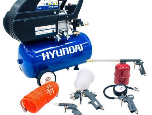Hyundai 24L Direct Drive 'Home Series' Air Compressor W/ 5-Piece Air Tool Kit HY2524