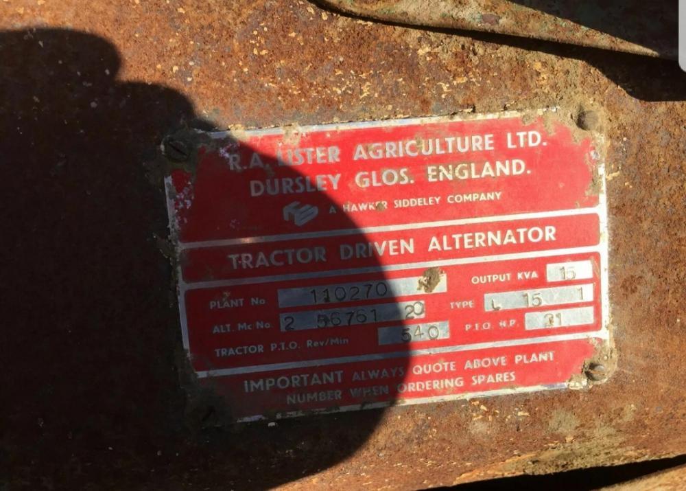 Tractor Generator PTO driven 15 KVA - Lister £460 plus vat £ 552